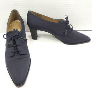 ⚡STUART WEITZMAN Dainty Blue Silk Oxford Heels EUC